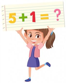 Chica sosteniendo problemas de matematicas