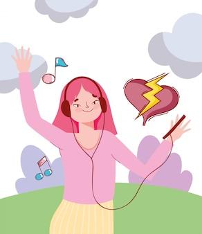 Chica sujetando el móvil y los auriculares escuchando música al aire libre ilustración