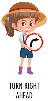 Chica sujetando la señal de tráfico aislado sobre fondo blanco.