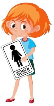 Chica sujetando wc cartel aislado sobre fondo blanco.