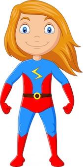 Chica superhéroe de dibujos animados aislada sobre fondo blanco
