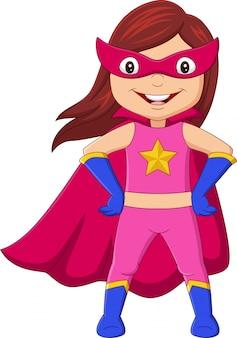 Chica de superhéroe feliz de dibujos animados posando
