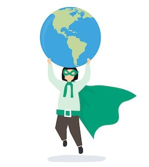 Chica superhéroe salvando el mundo