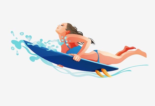 Chica surfista en la tabla de surf cogiendo olas en el mar.una chica con una tabla de surf se sumerge bajo una ola