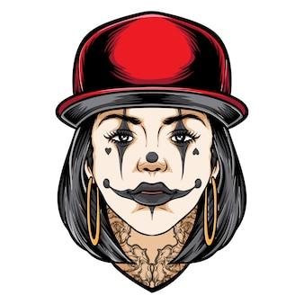 Chica tatuada con ilustración de tatuaje de maquillaje de payaso