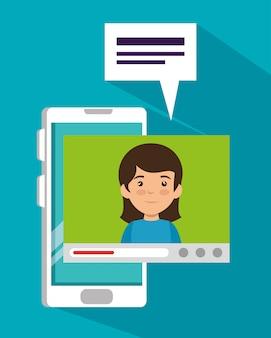 Chica con teléfono inteligente y videollamada burbuja de chat