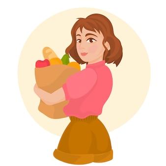 Chica tiene bolsa de supermercado con productos naturales