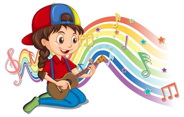 Chica tocando la guitarra con símbolos de melodía en la onda del arco iris