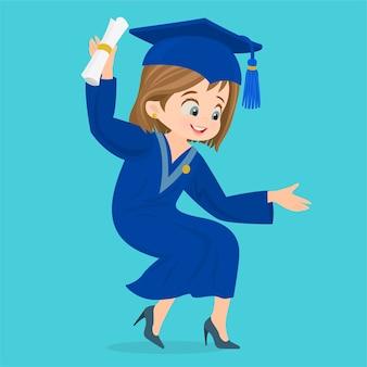 Chica en toga de graduación con título