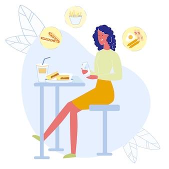 Chica tomando almuerzo foto ilustración vectorial plana