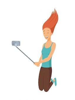 Chica tomando selfie saltando