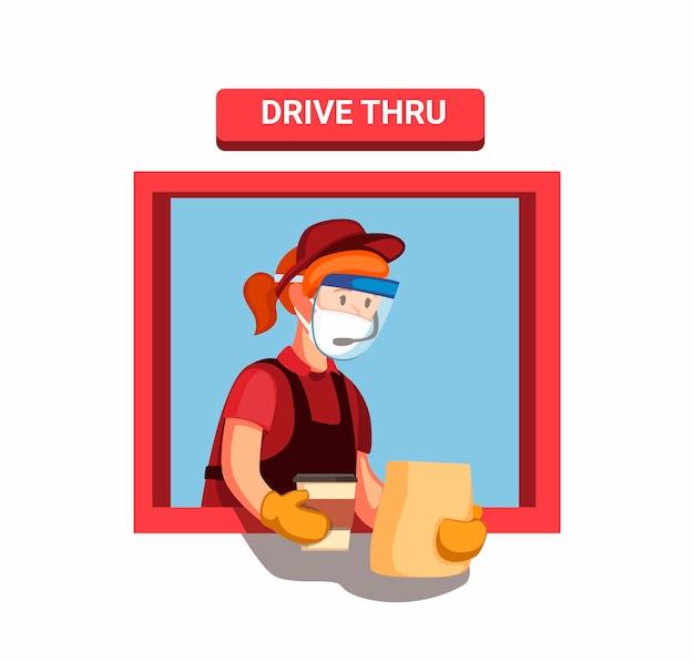 La chica trabajadora de comida rápida usa máscara y guantes protectores faciales le da al cliente un pedido en una unidad a través de la ventana