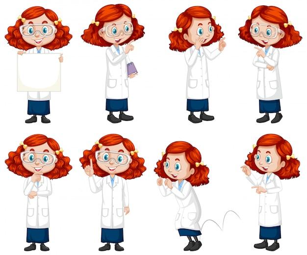 Chica en traje de ciencia haciendo diferentes poses