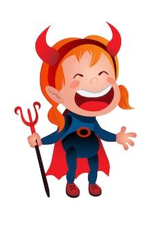 Chica en traje de diablo riendo icono de línea. niño, demonio, satanás. concepto de halloween