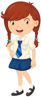 Chica en traje de escuela