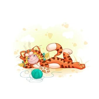 Chica en traje de gato rojo. niños en disfraces o pijamas.
