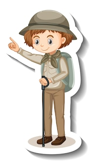 Chica con traje de safari pegatina de personaje de dibujos animados