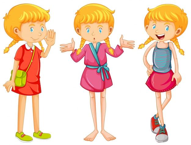 Chica en tres ropas