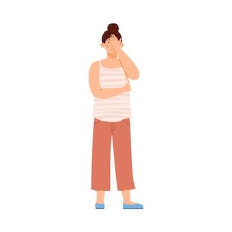 Chica triste y decepcionada cubre la cara con la palma de la mano emoción expresiva de malestar o dolor