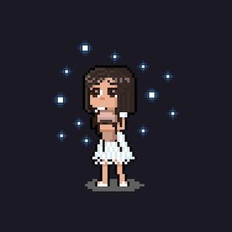 Chica triste de dibujos animados de pixel art sosteniendo una muñeca con estrella azul