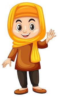 Chica turca agitando la mano