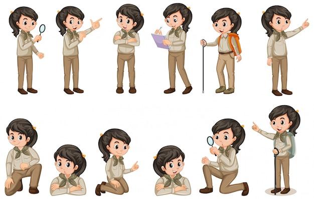 Chica en uniforme de explorador en muchas poses en blanco