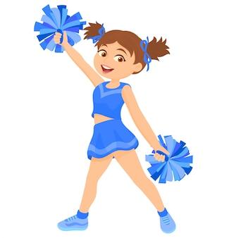 Chica en uniforme con pompones