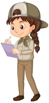 Chica en uniforme de safari en aislado