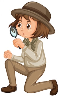Chica en uniforme de safari aislado