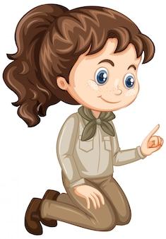 Chica en uniforme de scout en aislado