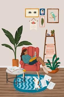Chica usando una computadora portátil en un vector de estilo de dibujo de sofá rojo