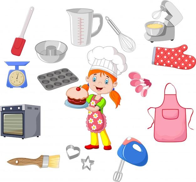 Chica y utensilios de cocina