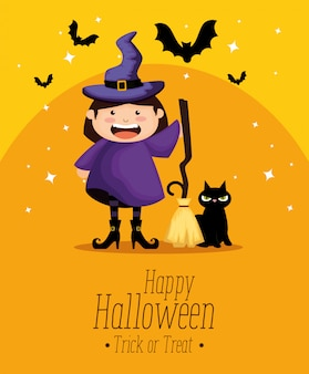 Chica vestida de bruja en halloween
