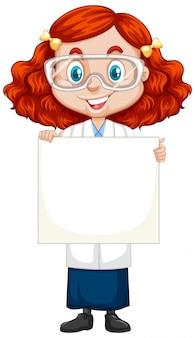Chica en vestido de ciencia con papel en blanco