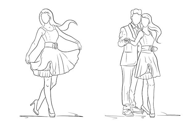 Chica con vestido y zapatos. un chico de traje y una chica de vestido. moda. estilo de línea. ilustración de vector de diseño y decoración.