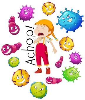 Chica y muchos virus en fondo blanco