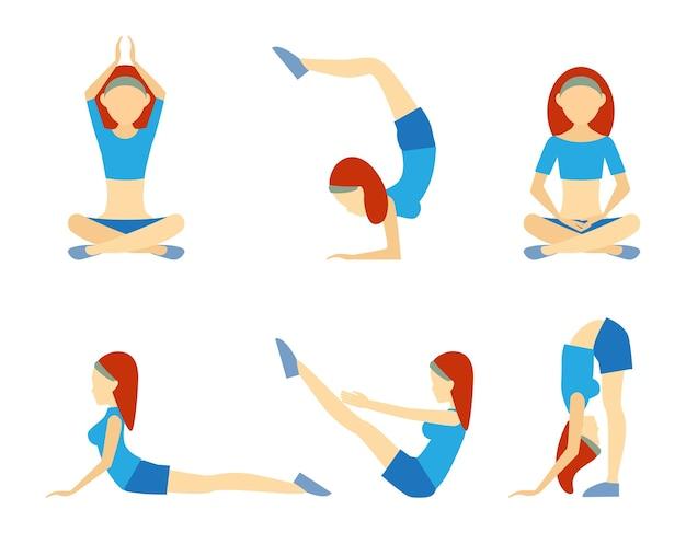Chica de yoga en seis posiciones, incluida la parada de manos, loto, meditación, flexiones, equilibrio y flexión para la flexibilidad, salud, bienestar y fitness, iconos vectoriales en blanco