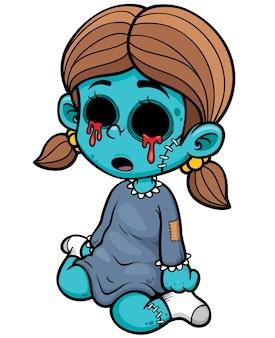 Chica zombie de dibujos animados