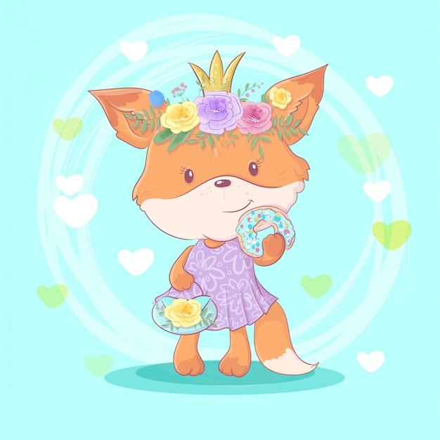 Chica de zorro de dibujos animados lindo en una corona de flores rosas con una rosquilla con glaseado.