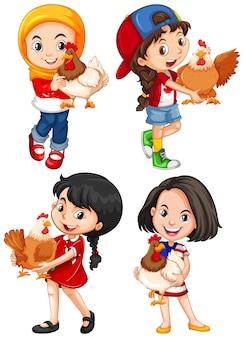 Chicas abrazando pollo lindo