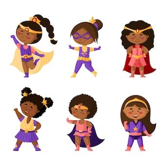 Chicas afroamericanas de dibujos animados de superhéroes en super disfraces