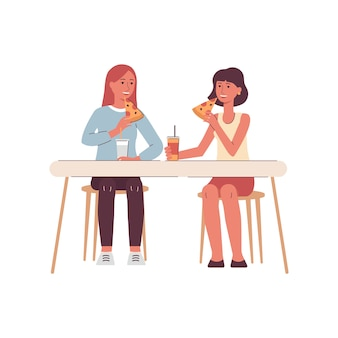 Chicas, amigos o colegas comiendo ilustración de dibujos animados aislado.