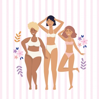 Chicas de belleza con ropa interior con ramas de plantas.