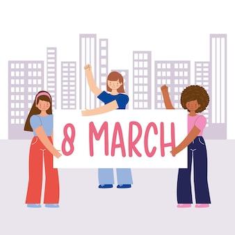 Chicas celebrando el día internacional de la mujer al aire libre con anuncio. ilustración