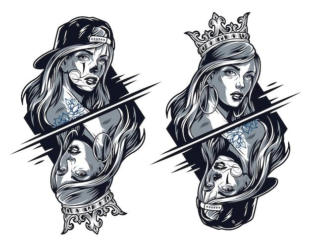 Chicas chicanas con corona y gorra de béisbol