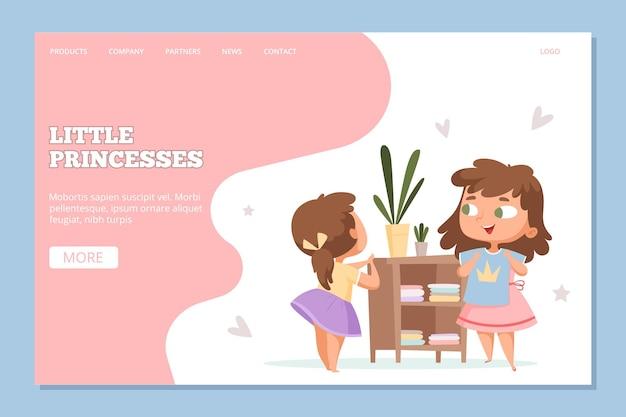 Chicas de compras. tienda de ropa online para plantilla de sitio web de princesas.
