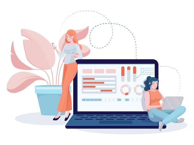 Chicas desarrollando sitios web y aplicaciones móviles en la ilustración plana de computadora portátil y teléfono inteligente.