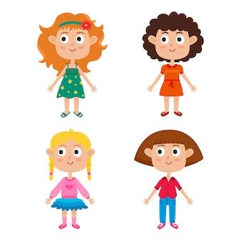 Chicas de dibujos animados aisladas en blanco. conjunto de personajes de niños con estilo.