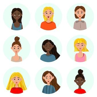 Chicas con diferentes expresiones faciales y emociones.