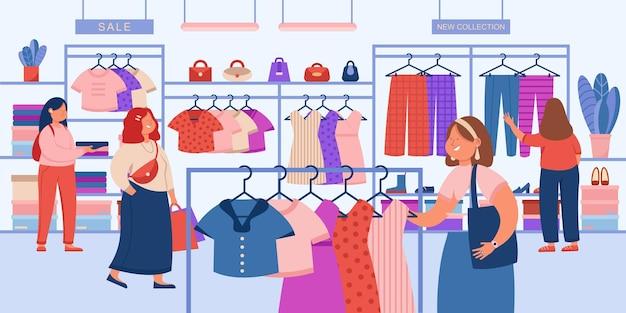 Chicas eligiendo ropa moderna en la tienda ilustración plana